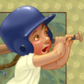 Illustration of four little girls playing softball