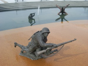 wide view of statuary at D-Day memorial