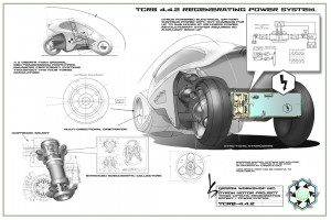 Mock-up designs for a futuristic eco-car.
