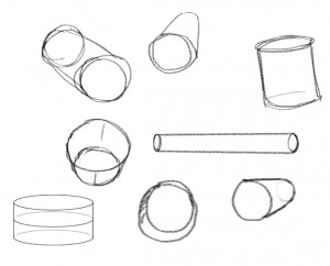 Rough drawing a three-dimensional looking cylinder using just two ovals and two lines.