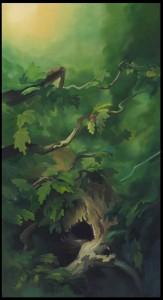 Traditional animation, background painting, Disney's Bambi-test-, by former Disney artist K Sean Sullivan.