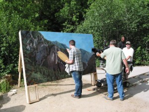 Matte painting by Sean Sullivan on location in Utah.