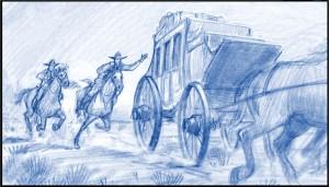 Drawing, Storyboard,  by Utah animation artist K Sean Sullivan.