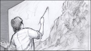 Storyboard panel, by Utah illustrator K Sean Sullivan