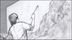 Storyboard panel, by Utah illustrator K Sean Sullivan