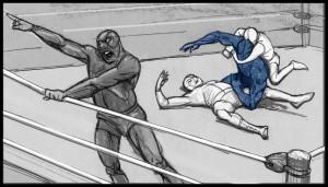 Storyboard panel, Wrestling, Sean Sullivan storyboard artist.