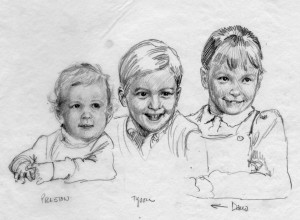 Sketch of three children.