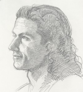 Pencil portrait of Patrick Devonas.
