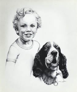 Pencil portrait of a boy and his dog.