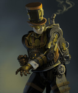 Original painting of a steampunk robot man.