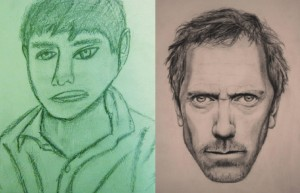 The srtist that drew Doctor House, obviously has greater skills than whoever drew the green boy.