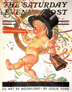 J.C.Leyendecker came up with this idea of representing the New Year as a baby, and it established an american icon.