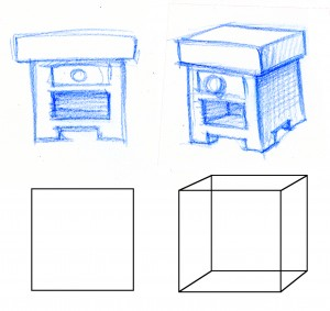 Why would we want to draw a square when we can draw a cube?  Show as much depth as you can in each of your drawings.
