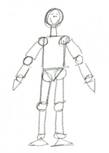 The Basic Shape Figure, or mannequin.  As simple as this is, it is far better than the stick figure.